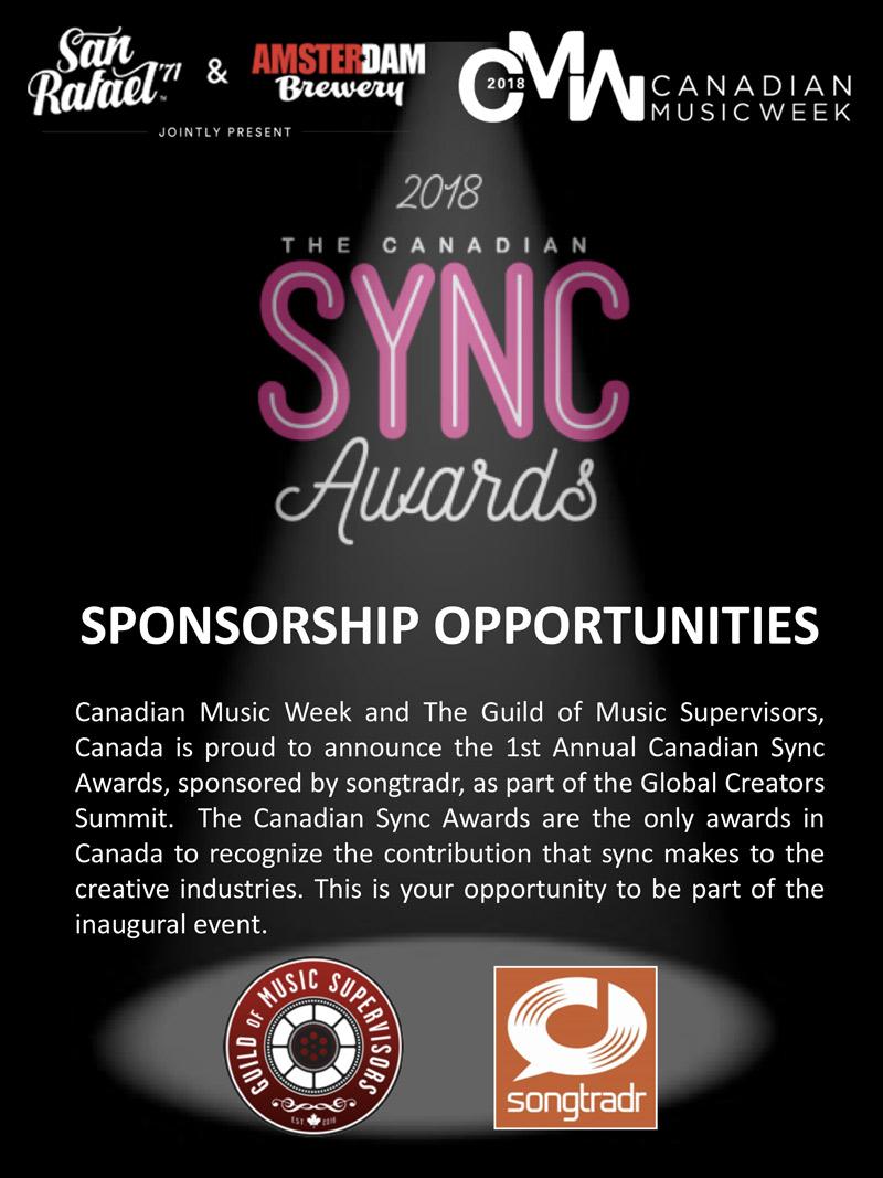 Canadian Sync Awards Sponsorships - 2020 Canadian Music Week